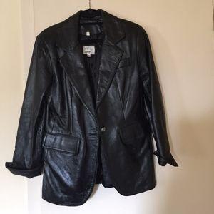 VAKKO Sport Black Leather Jacket Size S